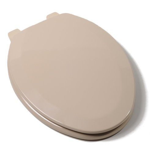 Comfort Seats C1B4E2-30 Deluxe Molded Wood Toilet Seat, Elongated, Fawn Beige