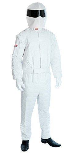 Herren-Kostüm 'The Stig - Testfahrer' - 90er Jahre Stil - Rennfahrer-Faschingskostüm - Größenauswahl - weiß, XL (EU 54)