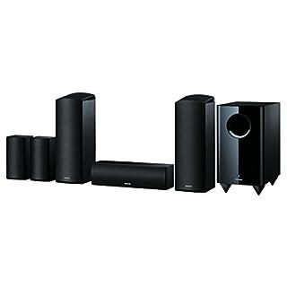 Onkyo 5.1.2 Kanal Heimkino Lautsprechersystem (6-teilig), SKS-HT588-B, Dolby Atmos-fähig, 130 Watt Belastbarkeit, 80 Watt aktiver Subwoofer, Surround Lautsprecher wandmontierbar, Schwarz, 1499359