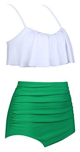 Aixy Damen Vintage Niedlich Ruffles Strap Bademode Crop Top Flounce Bikini Badeanzug Badeanzüge Weiß