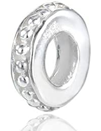 Materia Schmuck Spacer Bead silber Element 2x9mm - 925 Sterling Silber Beads Zwischenelement Punkt Ornamente für European Beads Armband #467