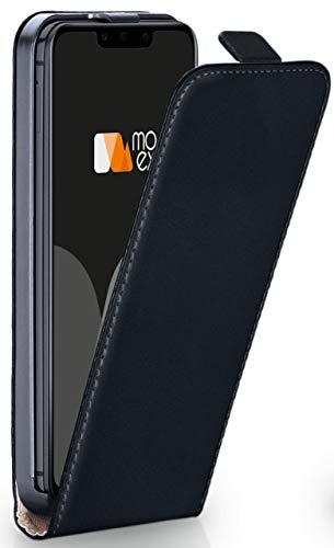 moex® Flip Case mit Magnetverschluss [Rundum-Schutz] passend für Huawei Mate 20 Pro   360° Handycover aus feinem Premium Kunst-Leder, Schwarz Flip Leder Hard Case
