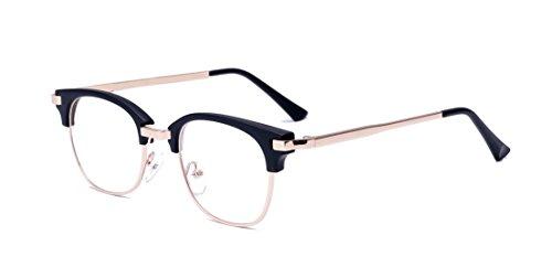 PC Linse Metall Bügel Halb Rahmen Unisex Streberbrille Brillenfassung (Herren 50er Jahre Kleidung)