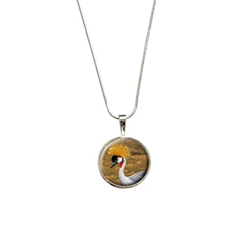Grey Crowned Crane Bird Pendant with Sterling Silver Plated Chain