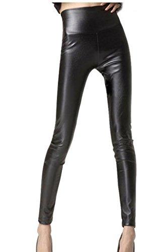 JNTworld Damen Frauen sexy Wet-Look glänzen/ glänzend Enge flüssige metallische faux Leder mit hoher Taille Bund Leggings Jeggings Petite Hoch , M , Glänzend Schwarz