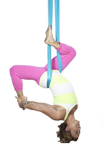 E-Bestar YOGA SWING Volando Hammock elastico Amaca 5 metri lunga X 2.8 metri Larghezza senza giuntura elastico anti Gravità mezz'aria yoga amaca Inversione dell'oscillazione aerea Pilates Yoga Fitness (Azzurro)