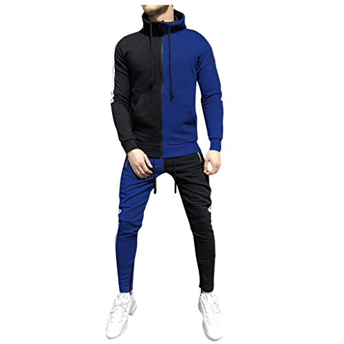 serliyHerren Herbst-Winter-Packwork-Sweatshirt-Top-Hosen-Sets Sportanzug mit Kapuze Trainingsanzug