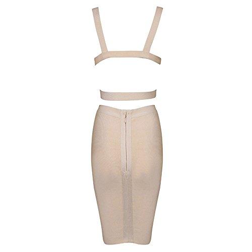HLBandage 2 Piece Set Pure Color Knee Length Bandage Dress Beige