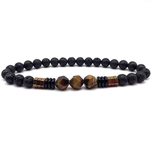 Armband Armreif,Schmuck Geschenk,Men Bracelet 8Mm Classic Square Tiger Eye Charm Bead Bracelet for Men Jewelry Birthday Gifts -
