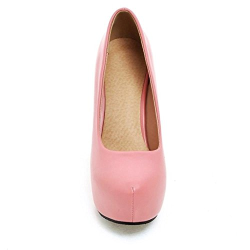 TAOFFEN Femmes Chaussures Western Aiguille A Enfiler Plateforme Talons Hauts Escarpins Rose