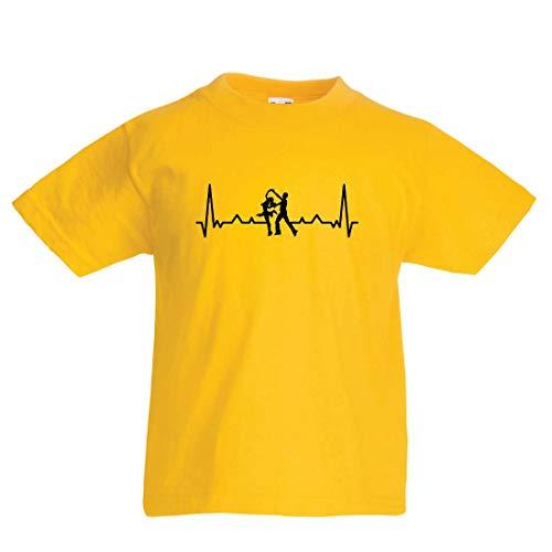 en/Mädchen T-Shirt Tanzen mit Herzschlag, Tanz-Liebhaber-Shirt, Tänzer-Outfit (1-2 Years Gelb Mehrfarben) ()