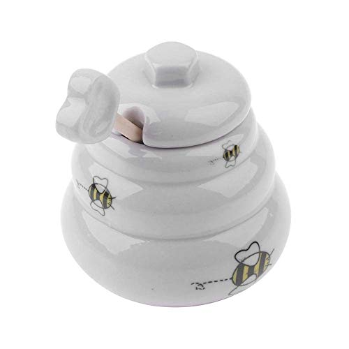 GADMA Pot porte miel en céramique blanche, en forme de ruche