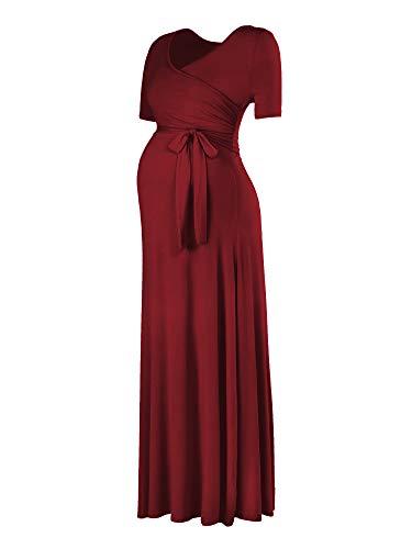 Love2Mi Damen Kurzarm V-Ausschnitt Wrap Maxikleid Lang Umstandskleid mit verstellbarem Gürtel Umstandsmode Kleidung, Weinrot
