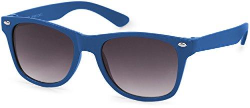 styleBREAKER Kinder Sonnenbrille, klassiches Retro, Nerd Design 09020056, Farbe:Gestell Blau/Glas...