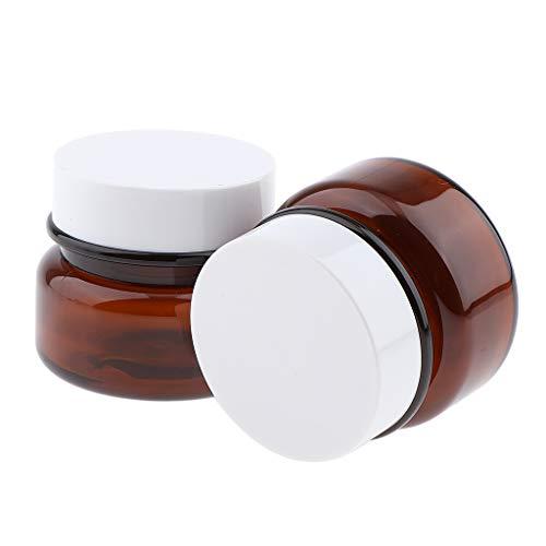 Sharplace 2pcs 50g Pot Vide en Plastique Récipient Cosmétique avec Couvercle pour Échantillon de Crèmes Baume Stockage de Maquillage