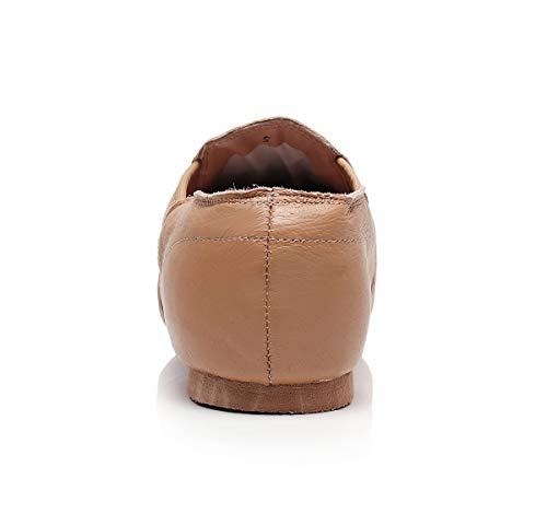 DoGeek Jazzschuhe Damen Tanzschuhe Sportschuhe aus Weichem Leder Dance Schuhe mit Schweinsleder Jazz Schuhe zum hineinschlüpfen Geteilter Sohle für Kinder, und Erwachsener in Gr.35-42 - 4