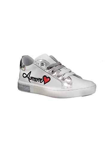 Pretti Shoe Sneakers Bassa con Lacci e Zip Amore Bianco, 27