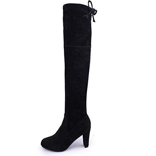 Bottines femme Kolylong 2016 Hiver femme Sexy Over Knee Botte Étendue Bottes Slim haut Chaussures à talons hauts