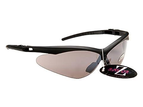 Professional Cycling Sunglasses for Men & Women by RayZor | Lightweight Biking Sports Wrap Eyewear | UV400 Outdoor Glasses | Anti Glare, Shatterproof, Protective Black with a Smoke Mirror