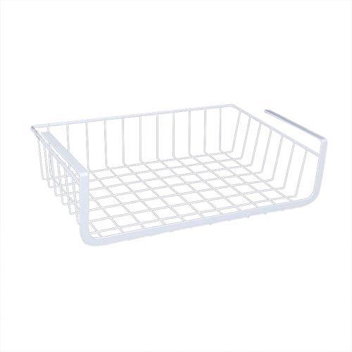 LY/WEY Refrigerator Storage Basket Kitchen Multifunctional Finishing Rack Under Cabinet Wire Fruit Food Shelf Home Organizer,S,White