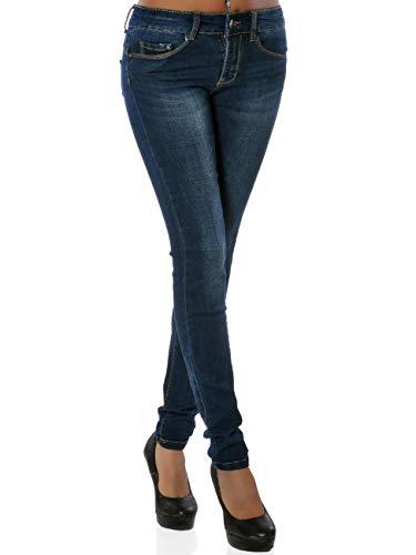 Daleus Damen High-Waist Jeanshose Push-Up DA 15931 Frauen Jeans Skinny Hose Slim-Fit Große Größen Blau XXXL / 46