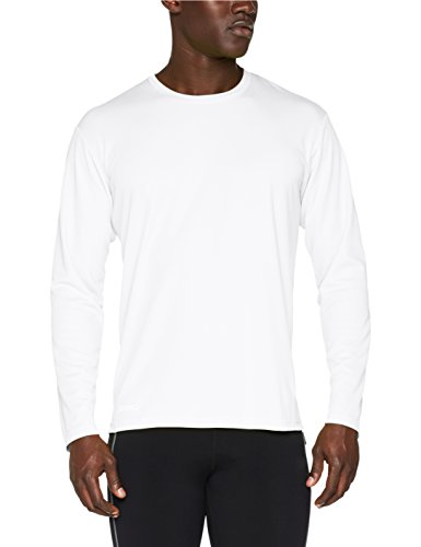 Spiro Herren Quick Dry Performance Langarm T-Shirt, Weiß, XL (Langarm-shirt Weißes Adidas)