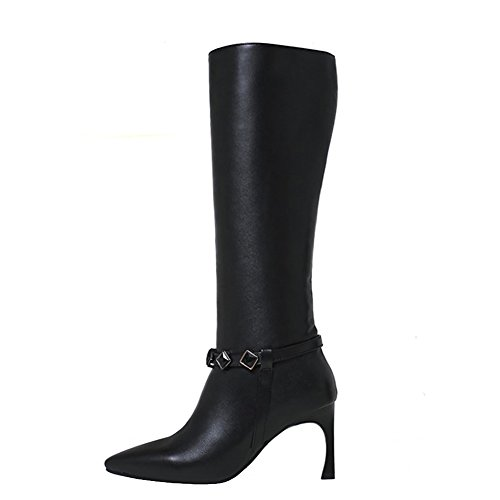 EKS Damen Mode Fancy Dress High Heel Stiletto Echtes Leder Knie High Winter Stiefel Schwarz Niet 38 (Fancy Kostüme Dress Brief E)