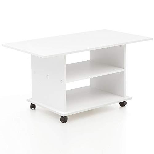 Tavolino di Design 95 x 51 x 54,5 cm Bianco Ruotabile con Ruote. Tavolino da caffè Tavolino. Tavolo da Salotto in Legno da Salotto. Tavolino con Spazio di archiviazione