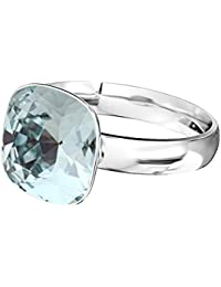 099a03a58929 Crystals   Stones 925 plata anillo   Square     Varios Colores   Swarovski  Elements - Plata de ley 925 mujer anillo…