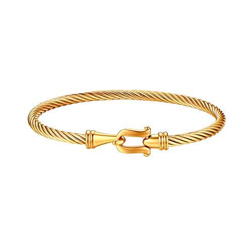 JewelryWe Schmuck Edelstahl Draht Viking Stulpe Armband Armreif Armspange mit Hakenverschluss für Herren Damen, Gold
