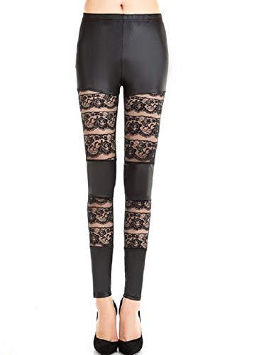 Inception Pro Infinite Leggings para Mujer - Cuero sintético - Encaje Negro - Oscuro - Gótico - Talla única - Idea de Regalo -