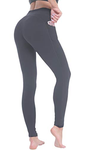 Beelu Yogahose Sporthose Damen Hohe Taille Bauchkontrolle Frauen Leggings Laufhose Fitnesshose mit Taschen (Grau, One Size)