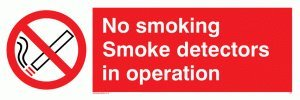 Viking Schilder ps7-l31-pv No Smoking Rauchmelder in Operation Zeichen, Aufkleber, nachleuchtend,...