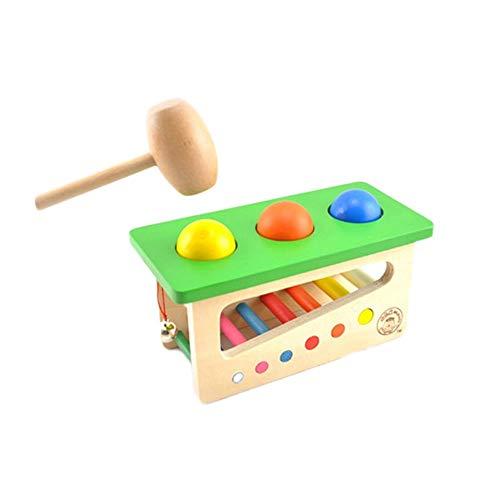lustiges Spielzeug, ALIKEEY Tippen Sie auf Bench Xylophone Durable Wooden Musical Pounding Spielzeug Kleinkinder Multifunctiona
