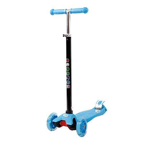 FunTomia Mini-Scooter Kinder Roller Tretroller Kickscooter mit 4 LED Rädern Miniroller Cityroller in blau