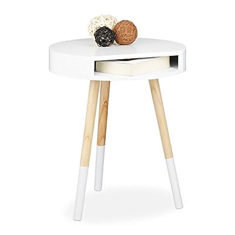 Relaxdays Beistelltisch, Holz, mit Öffnung, Wohnzimmertisch, Sofatisch, H x B x T: ca. 48 x 40 x 40 cm,