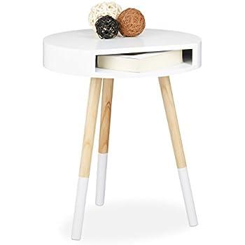 Relaxdays Beistelltisch Holz Mit Ffnung Wohnzimmertisch Sofatisch H X B T Ca 48 40 Cm Weiss