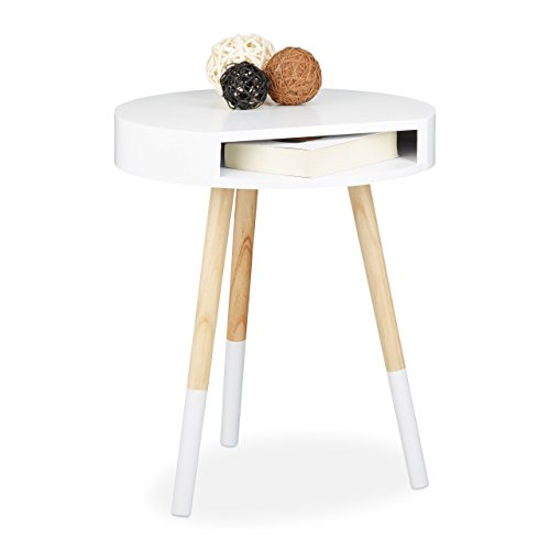 Relaxdays Table d'appoint Bois Blanc Ronde avec Ouverture Table Console Blanche Salon Table de Chevet HxlxP: 48 x 40 x 40 cm, Blanc