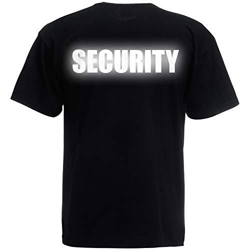 fa7888b066 Shirt-Panda Herren T-Shirt Security Unisex Brust & Rücken Schwarz (Druck  Reflektierend