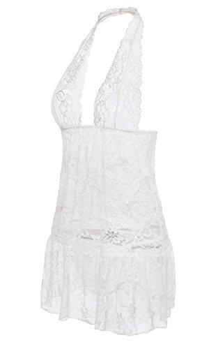 BMAKA Damen Nachtmantel Dessous Spitze Negligee  Nachtwäsche , Weiß , M (Fantastische Vintage-nachthemd)