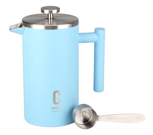 carabica French Press Stempelkanne | Kaffeebereiter | doppelwandig | Edelstahl (Sky Blue)