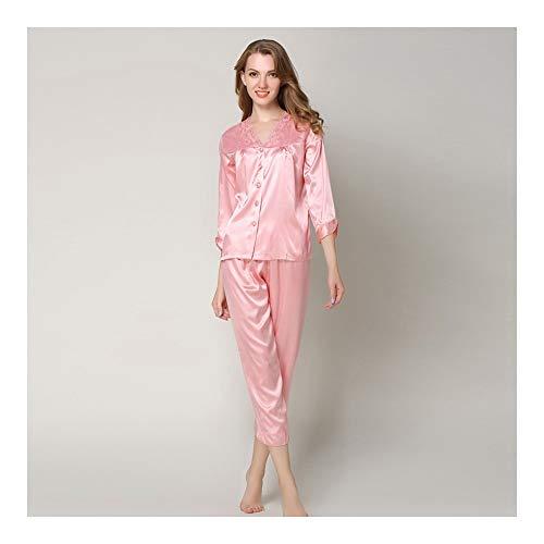 HAOLIEQUAN Rosa Frauen Pyjama Set Seven Sleeves Nachtwäsche Tops + Pants Spitze Seide Nachthemden Nachtwäsche V-Ausschnitt Anzug, Pink, XXL -