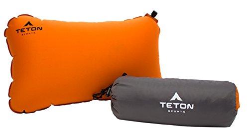 Teton Sports Comfortlite selbst aufblasende Kissen; inklusive Stuff Sack, Orange/Microfiber -
