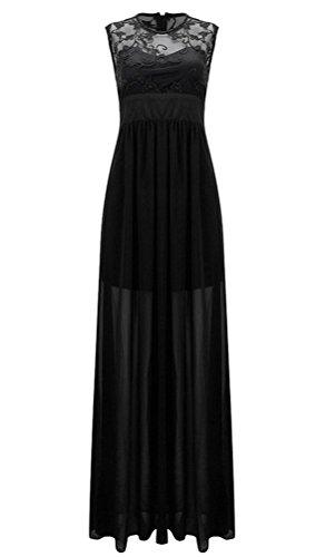 Brinny Sexy Slim Fit Femme Robe en Dentelle mousseline de soie Creux Dos Zipper Plissé Maxi Robe de Cocktail de Mariée Demoiselle D'Honneur 7 Couleur 5 Taille S-2XL Noir