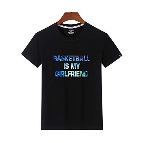 T-Shirt Sommer Basic Kurzarm T-Shirt Kurzarmshirt Top Print Shirt Casual Basic O-Neck ()