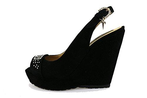 CESARE PACIOTTI 4US sandali donna nero camoscio strass AG44 (39 EU)