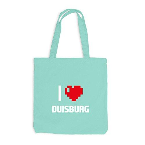 Jutebeutel - I Love Duisburg - Deutschland Reisen Herz Heart Pixel Mint
