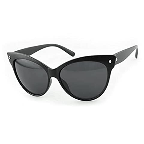 Ardisle Cat Eye Sunglasses Ladies Women Retro Vintage Shades Oversized Designer Large (Matte Black)