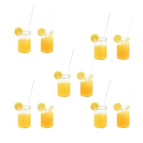 Baoblaze 10-teilig Miniatur Getränke Zitrone Wasser / Orangensaft Tassen Modell für 1:12 Puppenhaus Esszimmer Dekoration - Orangensaft Tassen - Orange - Getränke Orangensaft