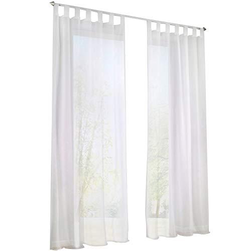 Transparent Schlaufen Gardine Schöne Vorhänge 1er-Pack Vorhang H*B 145*140cm Weiß